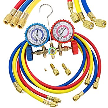 LIYYOO Refrigerant Charging Hoses with Diagnostic Manifold Gauge Set for R410A R22 R404 Refrigerant Charging,1/4  Thread Hose Set 60  Red/Yellow/Blue  3pcs  with 2 Quick Coupler