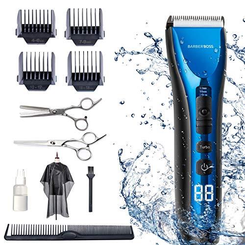 BarberBoss professioneller Haarschneider wasserdichter Haartrimmer schnurlos wiederaufladbar LED-Display drei Geschwindigkeitseinstellungen elektrisch Keramikklingen Haarklipper Barttrimmer schnurlos