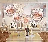 XUNZHAOYH Papier Peint 3D,Papier Peint Personnalisé Photo 3D Relief Murale en Verre De Vin Rose Fond Plat Papier Peint Décoration Papel De Parede Murale 3D,250(W) X160Cm(H)(Pi) 8.2X5.3