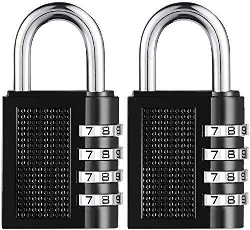 2-Pack Lock Home Beveiliging Hangslot Waterdicht & Weerbestendig Hangslot met 4-cijferige Soepele Wijzerplaat voor School, Gym, Outdoor Shed Locker Zwart 2-pack