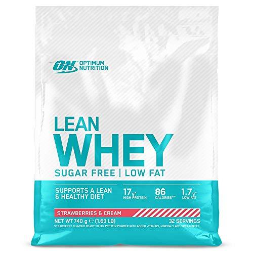 Optimum Nutrition Lean Whey - Proteínas en polvo sin azúcar con vitaminas y minerales, bajo en grasas, Crema y Fresa, 32 porciones, 740 g