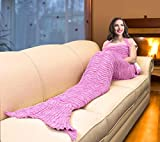 Catalonia Mermaid Tail Sherpa Blanket, Super Soft Warm Comfy Sherpa-Lined Knit Mermaids with Non-Slip Neck Strap, Best Gift for Girls Women Adult Teens Birthday Christmas Pink