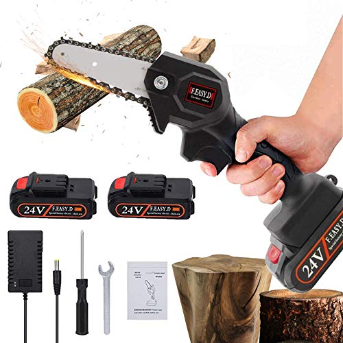 N/Q Mini Chainsaw,4-Inch Cordless Electric Chainsaw,24V Portable Rechargeable Chainsaw,High Power Handheld Electric Saw for Garden Pruning,Wood and Tree Branch Cutting (24V Chainsaw+Battery)