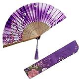 Toyvian Abanico Plegable de Estilo Chino con Bolsa de Tela Abanico de Flores de Mariposas (Violeta)