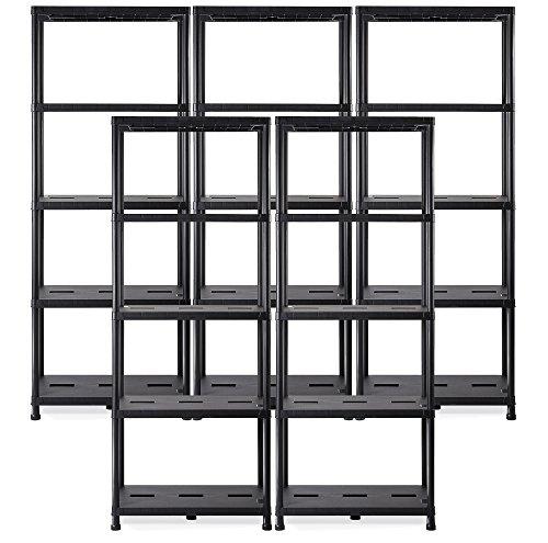 Ondis24 Regal, Lagerregal, 71 x 35 x 180 (H) cm, Steckregal, Kunststoffregal, 15 Zoll Schwerlastregal, bis zu 180 kg belastbar (5 Stück)