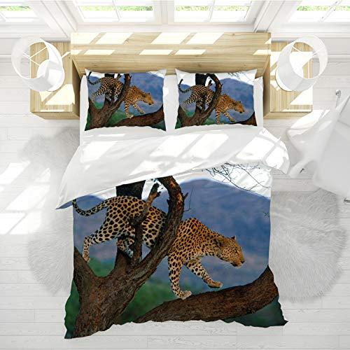 SHJIA Funda Nórdica Doble Azul, Funda Nórdica Animal con Estampado De Leopardo 3D, Funda Nórdica Animal De Poliéster Cama Doble 150 * 220cm