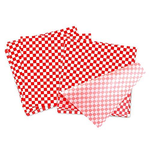 BoloShine 100 Sheets Checkered Deli Basket Liner Lebensmittel Wrapping Papers, Lebensmittelverpackung Papier Fettbeständig für Sandwich Burger Wrap Verhindert Lebensmittelflecken