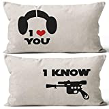 Mancheng-zi I Love You I Know Star Wars Han Solo and Leia Pillow Case, Gift for Couples, Anniversary, Wedding, Engagement, Valentine, 20x12 Inch Set of Two Linen Cushion Cover for Sofa Couch Bed