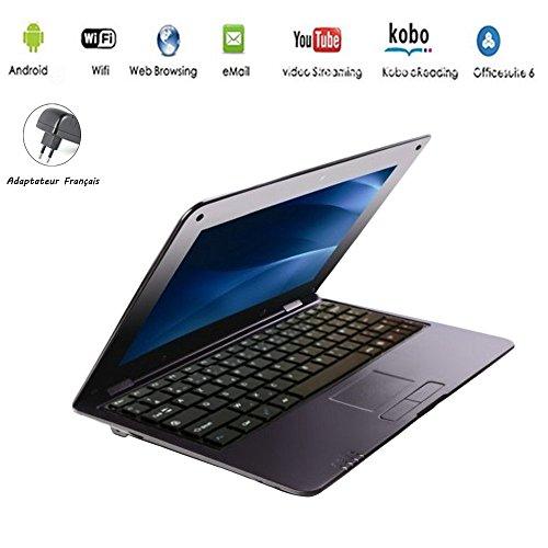 G-Anica® Netbook mit Android4.4.2, HDMI, 10,1-Zoll-Display (25,6cm), WLAN, SD, MMC, Webcam, unterstützt Textverarbeitung, PDF usw., Achtung: französische Tastatur (AZERTY) schwarz schwarz