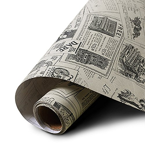 yazi - Papel pintado de PVC autoadhesivo, estilo mediterráneo, impermeable, grueso, para sala de estar, periódico, 60 x 300 cm