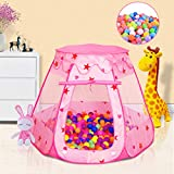 Wilhunter Baby Ball Pit for Toddler with 50 Balls, Kids Pop Up Play Tent for Girls, Princess Toys for Children Indoor & Outdoor Playhouse with Carry Bag (Ball Pit with 50 Balls)