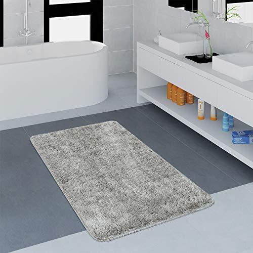 Paco Home Moderner Badezimmer Teppich Einfarbig Microfaser Kuschelig Gemütlich In Grau, Grösse:50x80 cm