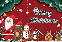 Amxxy 5x3ftビニールレッドクリスマスサンタクロースの背景写真の背景メリークリスマス父と雪だるまホリデーパーティーの装飾テレビ番組大人の子供の肖像画写真スタジオの小道具