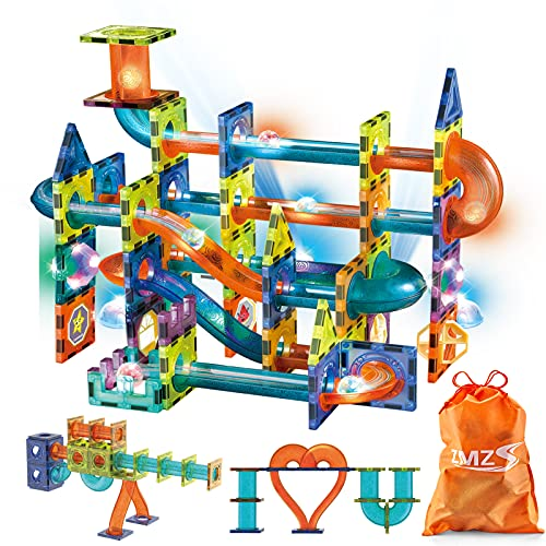 Magnetic Tiles Castle Building Blocks Toys Kids Age 4-12 ZMZS Marble Run with Luminous Balls Lamps Toddlers Gifts 89 Piece 3D STEM Set for 3 5 6 7 8 9 10 Year Old Girls Boys