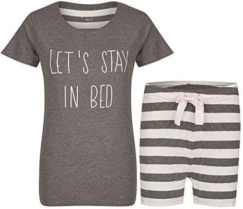 By Louise Damen Pyjama kurz Nachtwäsche Homewear Loungewear grau weiß Streifen Spruch, Farbe:Mehrfarbig, Grösse:XL - 42