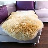 #Wohnzimmer Teppich Elfenbein Weiß XL Neuseeland Echtes natürliches Schaffellteppich Matten ( Farbe : D , größe : 1.5-75×150cm )