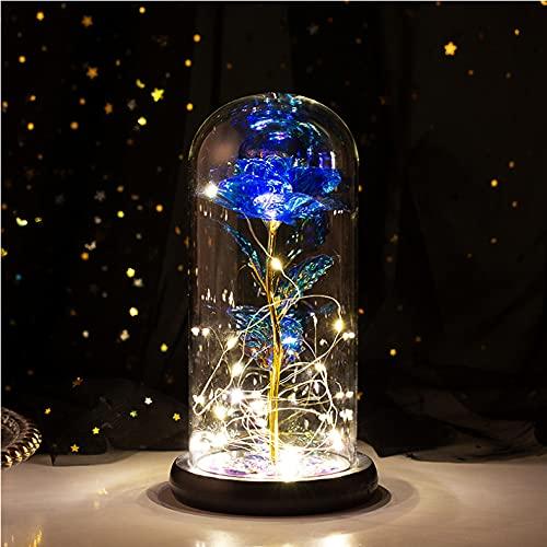 HEXUP die Schöne und das Biest Rose, ewiges Rose im Glas warmweißen LED-Lichte verzaubertes Geschenk Lampe der Rose Haus Dekoration für Geschenk Valentinstag Muttertag Weihnachtstag Geburtstag, blau