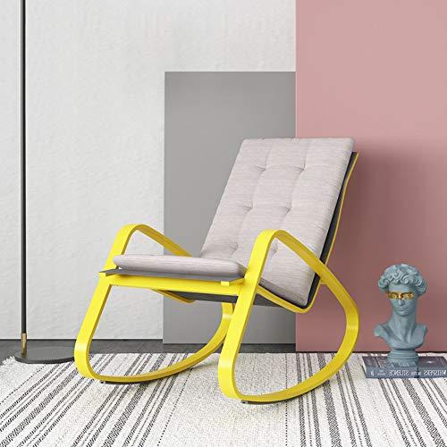 SXFYZCY Silla Mecedora para Adultos balcón reclinable sillón sillón Perezoso Silla de Ocio Silla Mecedora Individual para el hogar, Amarillo