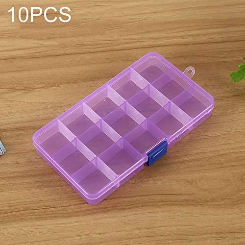 QICHENGBIN Mini Coffret à Bijoux Grille Amovible en Plastique 15 Machines à sous Box Organisateur, for Les Bijoux Boucle d'oreille Hameçon Petit Accessoires (10 PCS) (Color : Color2)