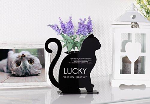 CHRISCK design Gedenkstandbild Gedenktafel Grabstein mit Text-Gravur aus Acryl für (Katze)