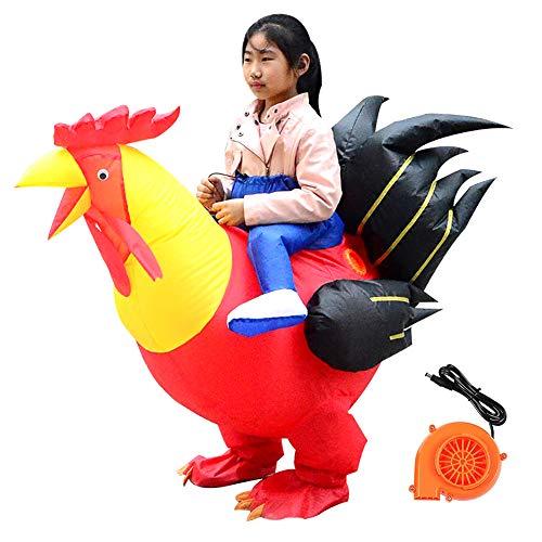 Whiie891203 - Costume Gonfiabile da Pollo, per Halloween, con Pompa ad Aria, per Travestimenti, Cosplay, Halloween, Feste in Maschera, Panno, Rosso