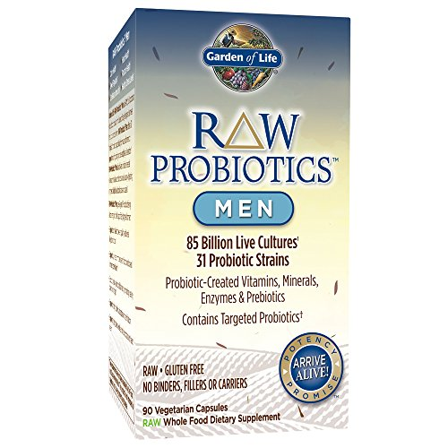 Garden of Life - RAW Probiotics Men - Acidophilus and Bifidobacteria Probiotic-Created Vitamins, Minerals, Enzymes and Prebiotics - Gluten and Soy-Free, Non-GMO - 90 Vegetarian Capsules (Shipped Cold) (Garden Of Life Raw Enzymes Side Effects)