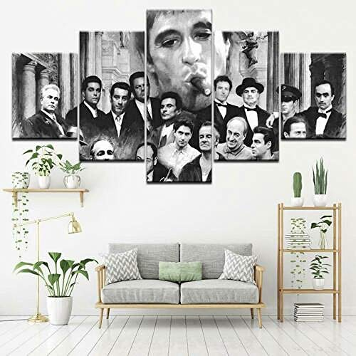194Tdfc Godfather Goodfellas Scarface 5 Piezas Cuadros Lienzo Decoracion Salon Modernos De Pared Papel Pintado Murales Pintura Póster Fotos Regalo Anime Animal Paisaje 150 * 80Cm