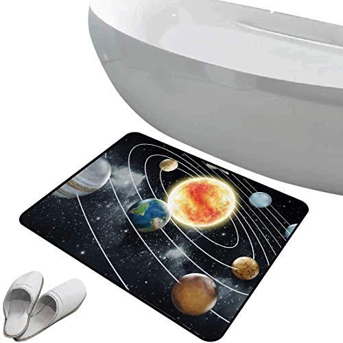 Tapis de salle de bain antidérapant Cosmos bain doux Système solaire à huit planètes Éléments de l'univers Soleil Terre Mars et Uranus,Vert Marron Bleu Foncé, Pour douche paillasson chambre salon cuis