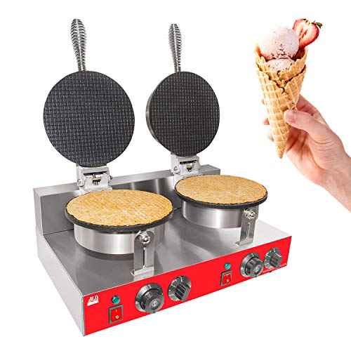 ALDKitchen Waffle Cone Maker | Commercial Waffle Roll Maker | Nonstick Teflon Coating| Stainless Steel | 110V (Double)