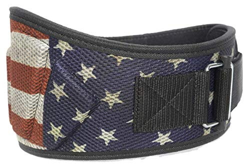 """Fire Team Fit Weightlifting Belt, Olympic Lifting, Weight Belt, Weight Lifting Belt for Men and Women, 6 Inch, Back Support for Lifting (Stars and Bars, 30"""" - 34"""" Around Navel, Small)"""