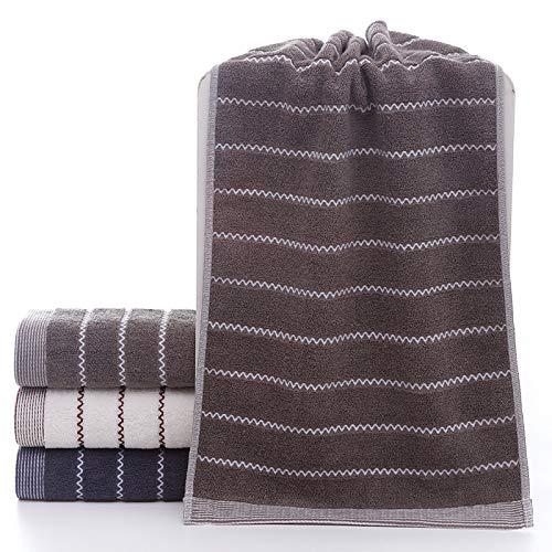 CMZ Toalla de algodón Puro a Rayas Toalla de algodón para el hogar Necesidades diarias Toalla Absorbente de 32 Hilos (34x74cm)