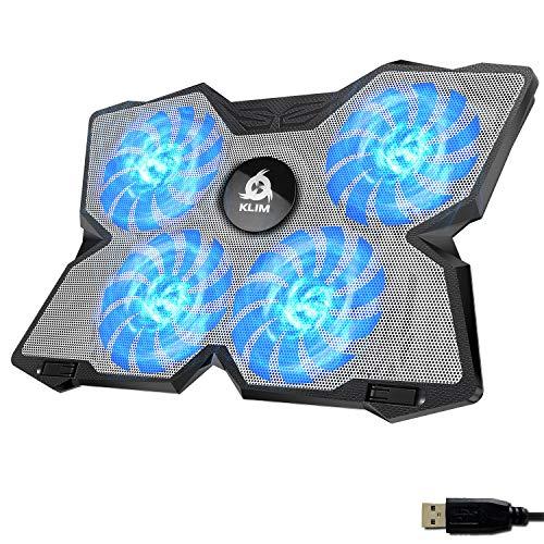 KLIM Wind + Base de refrigeración para portátil + La más Potente + Refrigerador portátil de 4 Ventiladores a 1200 RPM con Soporte + Compatible con Todos los tamaños + Blanca Azul + Nueva VERSIÓN 2021