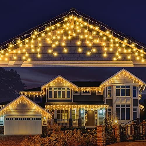 LED Lichterkette Eisregen, AKASUKI 9M 240 LED Lichtervorhang mit 8 Beleuchtungsmodi, Eiszapfen Lichterkette Innen und Außen, Strombetrieben für Party, Hochzeit, Balkon, Garten Deko, Warmweiß