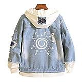 Naruto Anime Hombre Mujer Chaquetas de Mezclilla Denim Jacket Cosplay Jeans Hoodie Sudaderas (5,EU L(Asian XL))