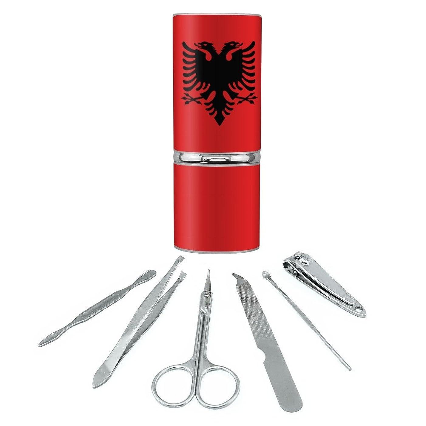 達成する熟達した列挙するアルバニアアルバニア国旗ステンレススチールマニキュアペディキュアグルーミングビューティーケアトラベルキット