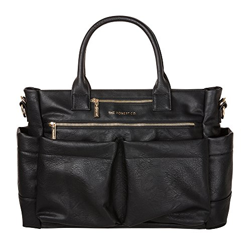 Price comparison product image The Honest Company Everything Tote,  Black / Vegan / PVC-Free Diaper Bag / Insulated Bottle Pockets / Changing Pad / Stroller Straps / Stylish and Functional