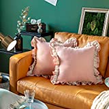 Glory Season Pack of 2 100% Cotton Square Throw Pillow Covers Double Ruffled Lace Decoration Pillowcases for Sofa Bedding Sofa 18x18 Inche/45x45cm Cushion Cases Dusty Pink…