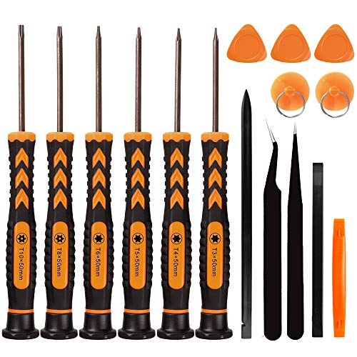 16 in 1 Torx Screwdriver Set with T3 T4 T5 T6 T8 T10 Security Torx Bit, Magnetic Star Screwdrivers Precision Repair Kit for Xbox, PS4, Macbook, Laptop, Computer, Doorbell & Folding Knife