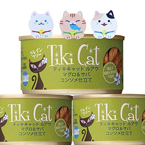 ティキキャット キャットフード グレインフリー マグロ & サバ 80g ×5缶 コンソメ仕立て ルアウ キッチンスポンジ セット / Tiki Cat 猫 缶詰 総合栄養食 ペット 猫 Amazon
