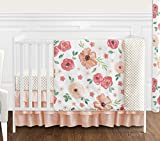 Sweet Jojo Designs Peach and Green Shabby Chic Watercolor Floral Baby Girl Crib Bedding Set - 4 Pieces - Pink Rose Flower Polka Dot