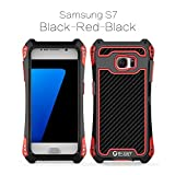 Galaxy S7 Case,Samsung S7 Case,Personality Stainless Steel with ABS Full-Body Protective Hybrid Armour Defender Case Cover Shell for Samsung Galaxy S7 Black Red