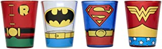 Silver Buffalo DC031SG8 DC Comics Superheroes Uniforms Mini Glass Set, 4-Pack