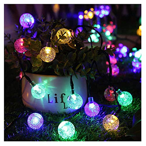 KELUNIS 22m 200 Led Solar Bubble Ball String Lights, Outdoor Waterproof Garden Decoration Crystal Ball Lights 8 Functions