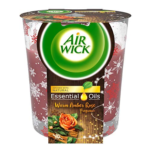 Air Wick Essential Oils Candle Air Freshener, Warm Amber...