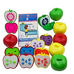 Skoolzy Counting Toddler Games - STEM Apple Factory Learning Toys for 3 Year olds to Ages 6 - Fine Motor Skills Color Sorting Montessori Toys for Toddlers Gifts- Educational Materials Activities