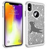 Glitter Bling Sparkle Shockproof Protective Hard Soft Case Cover for Apple iPhone French Bulldog Yoga (Silver, for Apple iPhone 6 / iPhone 6s)