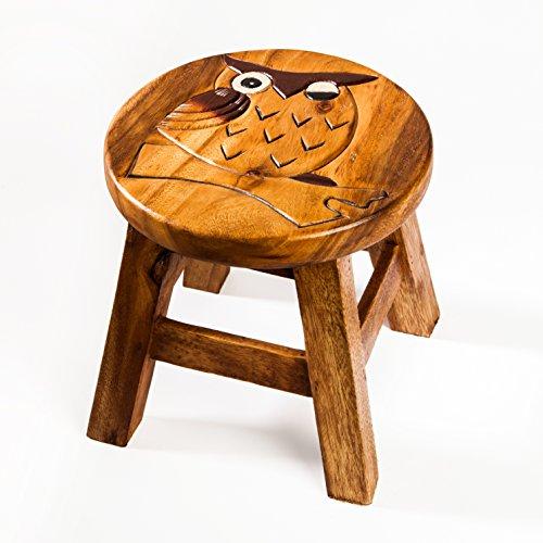 Kinderhocker, Schemel, Kinderstuhl massiv aus Holz mit Tiermotiv Eule, 25 cm Sitzhöhe für unsere Kindersitzgruppe
