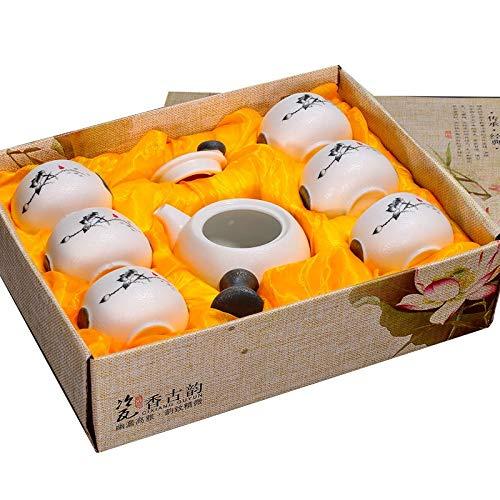 Juego de té tetera De Esmalte De Copo De Nieve De Cerámica Blanca Con 6 Tazas Juegos De Té De Porcelana Juego De Té Chino Gongfu Drinkware