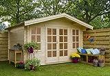 Outdoor Gartenhaus / Blockbohlenhaus Robin 280 Sockelmaß: 340 x 280 cm Dachstand: 380 x 344 cm Wandstärke: 28 mm Ausführung: naturbelassen Material: Massivholz