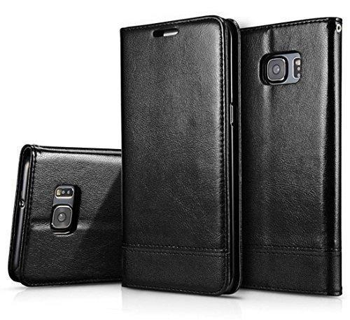 Funda Galaxy S6 Edge Plus, de Con Eiseño de Imán de Doble Cara Invisible Fuerte Hebilla Magnética, Soporte Plegable, Ranuras para Tarjetas y Billetes, Funda para Samsung Galaxy S6 Edge Plus, Negro